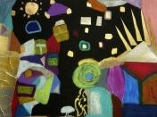 Avec un fond noir, motifs colorés pour une peinture d'un enfant du cours de peinture Entretoile